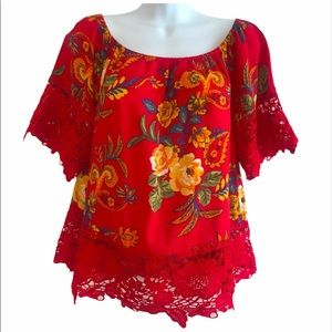 Women's Red Lace Floral Top